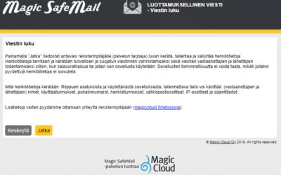Magic SafeMailiin disclaimer-välisivu ja uusi ulkoasu